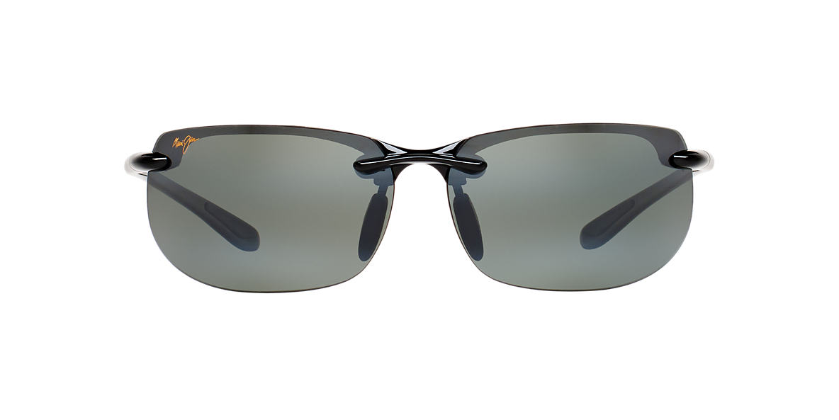 MAUI JIM Black Shiny 412 BANYANS Grey polarized lenses 67mm