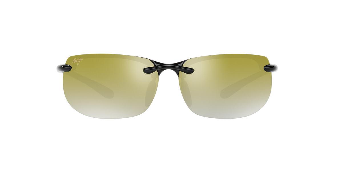 MAUI JIM Black Shiny 412 BANYANS Green polarized lenses 67mm