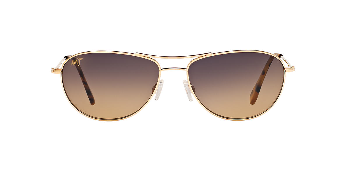 MAUI JIM Gold Shiny 245 BABY BEACH Bronze polarized lenses 56mm