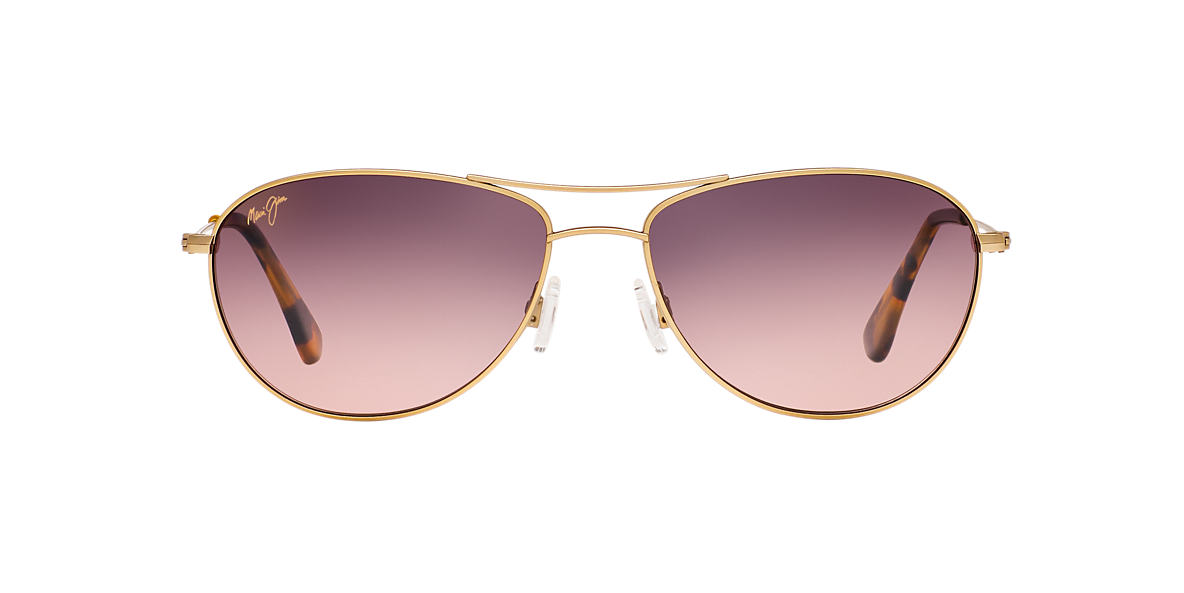 MAUI JIM Gold Matte 245 BABY BEACH 56 Pink polarized lenses 56mm