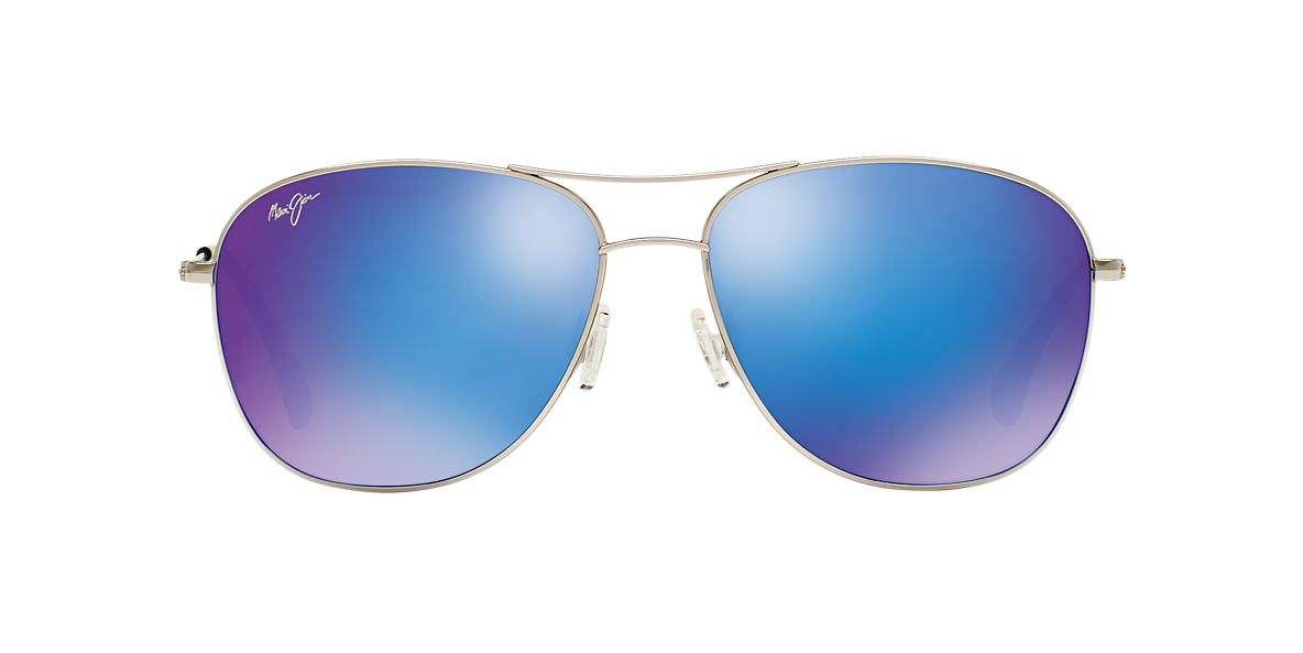 MAUI JIM Silver Shiny 247 CLIFFHOUSE 59 Blue polarized lenses 59mm