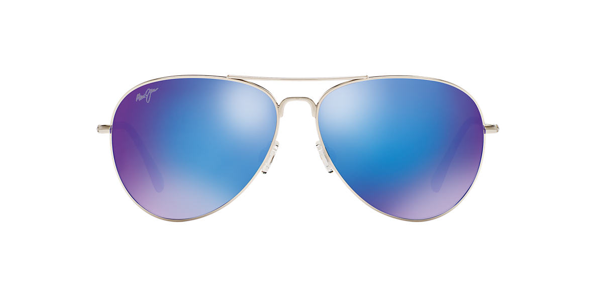 MAUI JIM Silver MAVERICKS Blue polarised lenses 61mm
