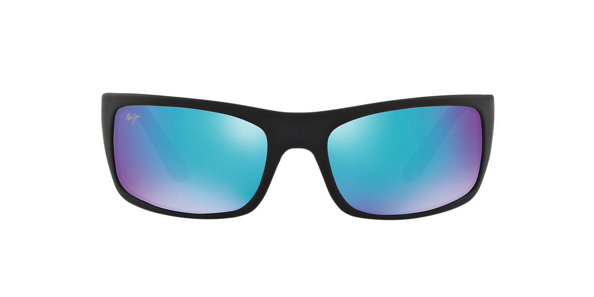 MAUI JIM Black Matte 202 PEAHI BH 65 Blue polarized lenses 65mm