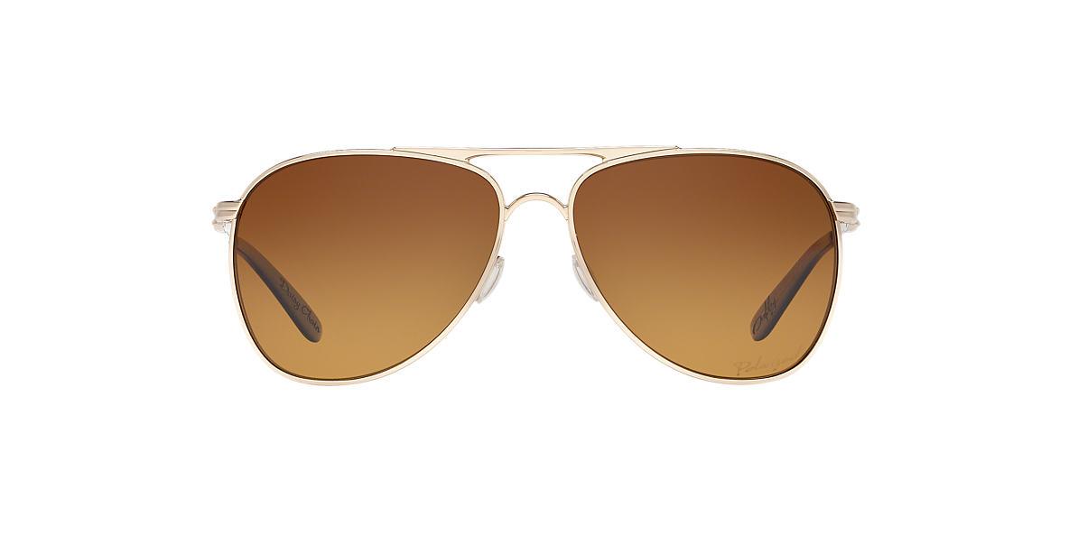 OAKLEY WOMENS Gold Shiny OO4062 DAISY CHAIN Brown polarized lenses 60mm