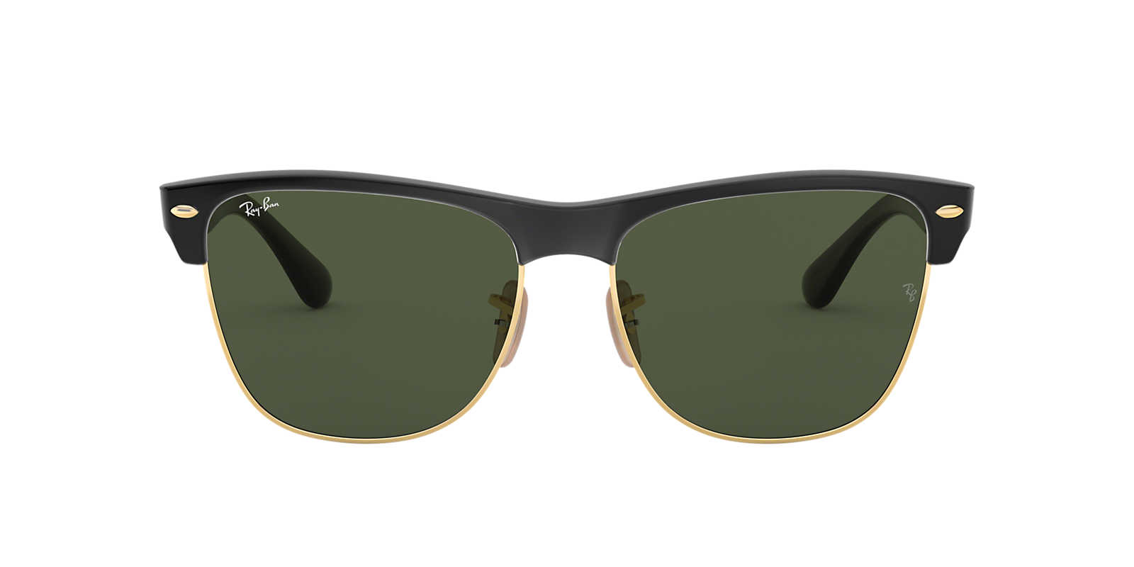 ray ban oversized clubmaster qp8t  RAY-BAN Black RB4175 57 CLUBMASTER OVERSIZED Green lenses 57mm