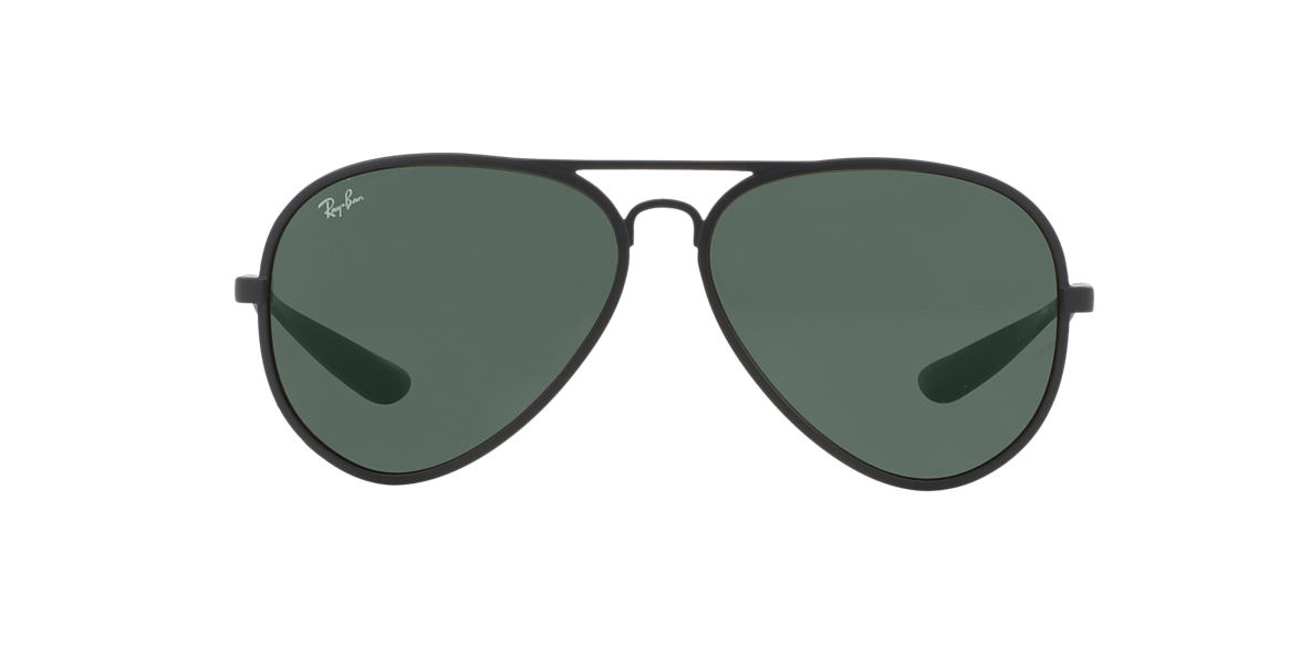 RAY-BAN Black Matte RB4180 59 AVIATOR LITEFORCE Green lenses 58mm