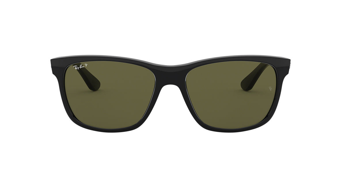 RAY-BAN Black RB4181 57 Green polarized lenses 57mm
