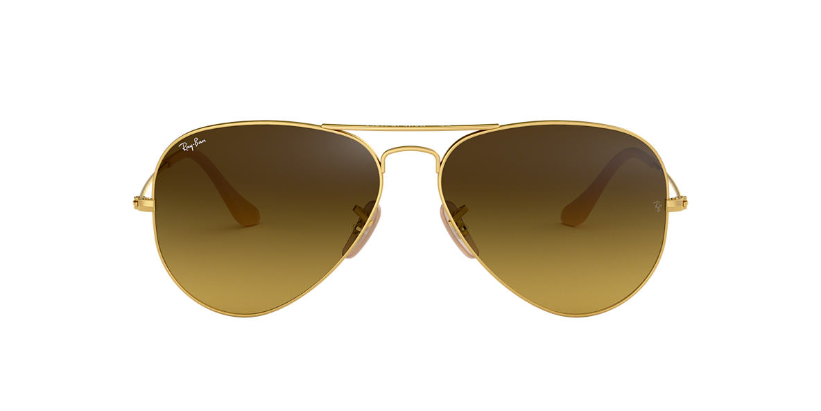 RAY-BAN Gold Matte RB3025 58 ORIGINAL AVIATOR Brown lenses 58mm