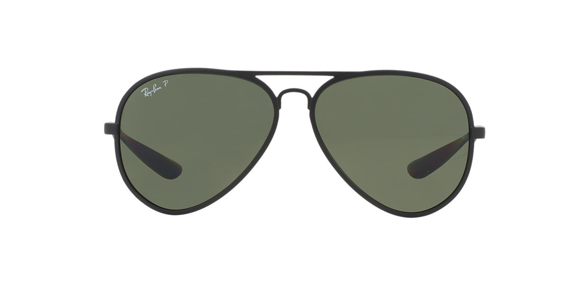 RAY-BAN Black Matte RB4180 59 AVIATOR LITEFORCE Green polarized lenses 59mm