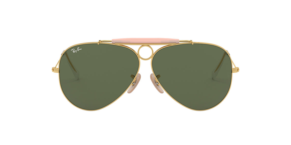 RAY-BAN Gold Shiny RB3138 58 SHOOTER Green lenses mm