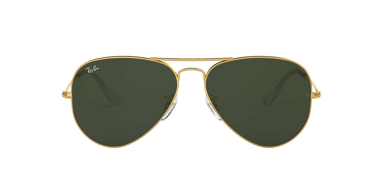 RAY-BAN Gold RB3025 55 ORIGINAL AVIATOR Green lenses 55mm