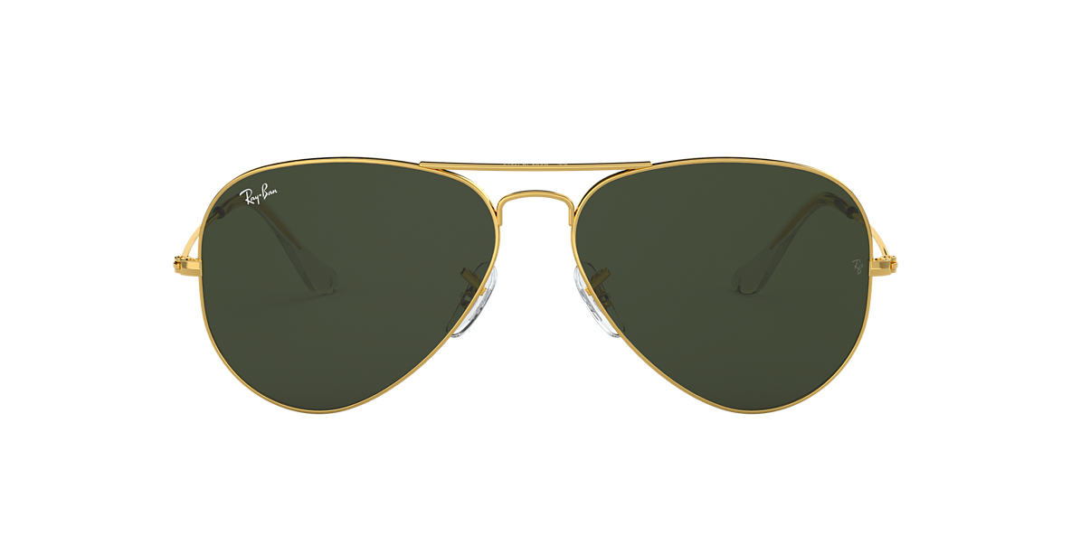 RAY-BAN Gold RB3025 55 ORIGINAL AVIATOR Green lenses 55mm