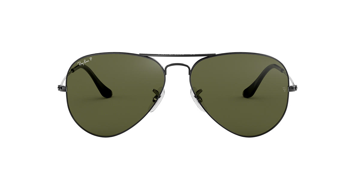 RAY-BAN Gunmetal RB3025 58 ORIGINAL AVIATOR Green polarised lenses 58mm