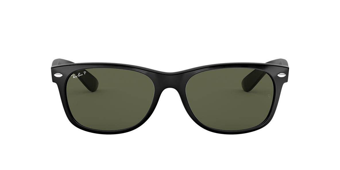 RAY-BAN Black RB2132 52 NEW WAYFARER Green polarized lenses 52mm