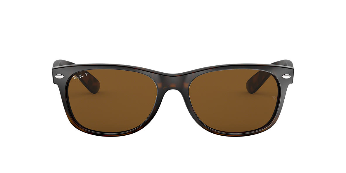 RAY-BAN Tortoise RB2132 55 NEW WAYFARER Brown polarized lenses 55mm