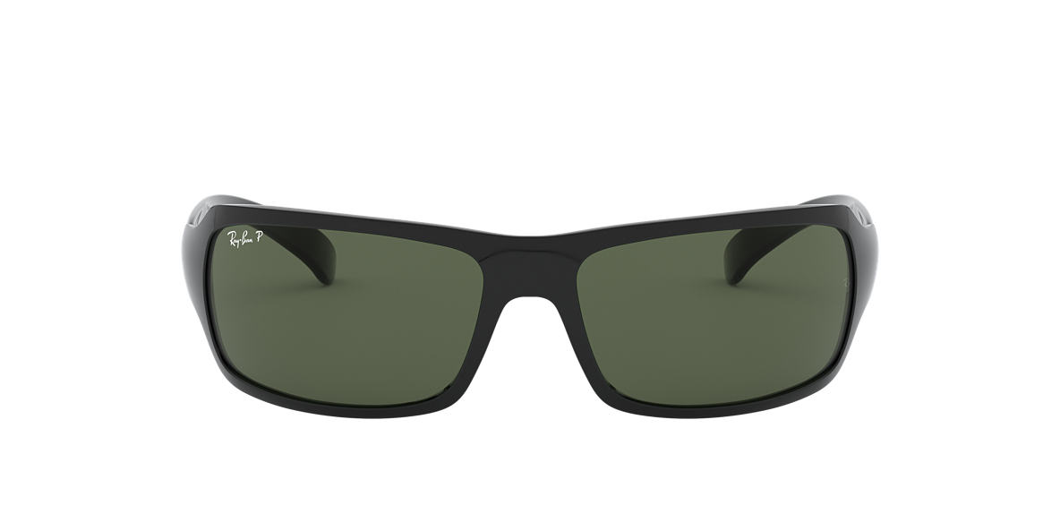 RAY-BAN Black RB4075 Green polarised lenses 61mm
