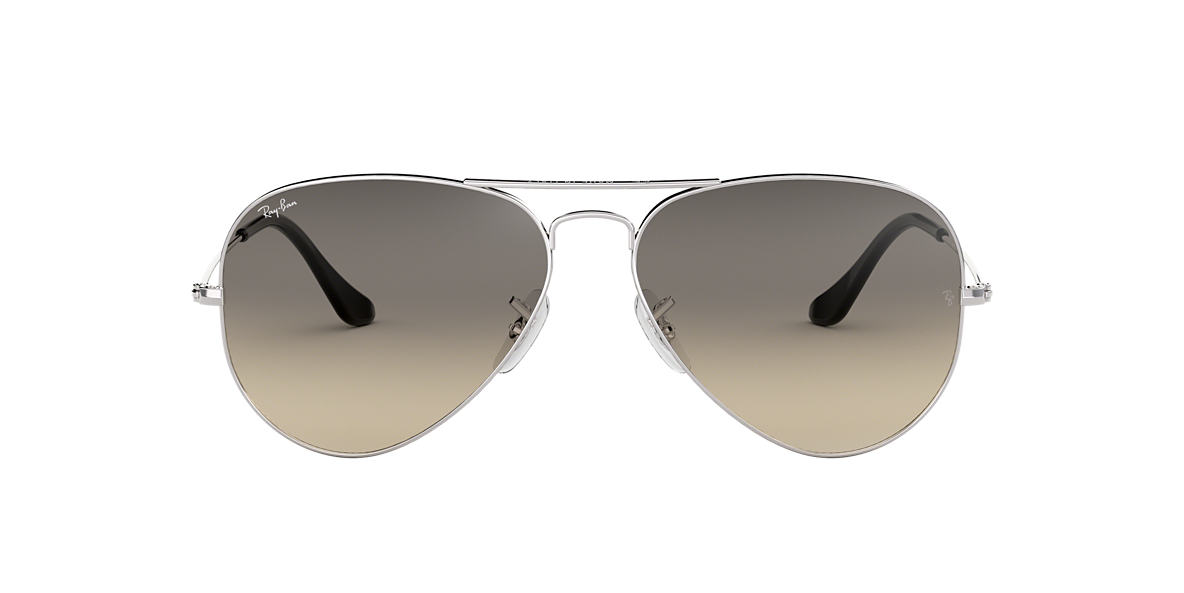 RAY-BAN Silver RB3025 58 ORIGINAL AVIATOR Grey lenses 58mm