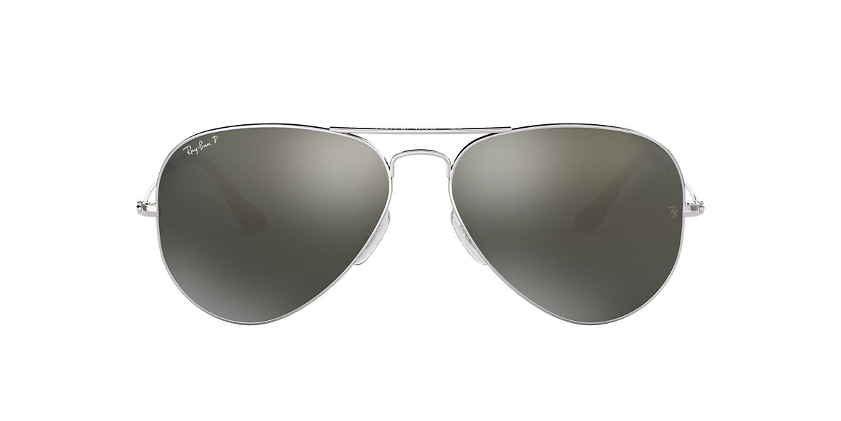 RAY-BAN Silver RB3025 58 ORIGINAL AVIATOR Green polarised lenses 58mm