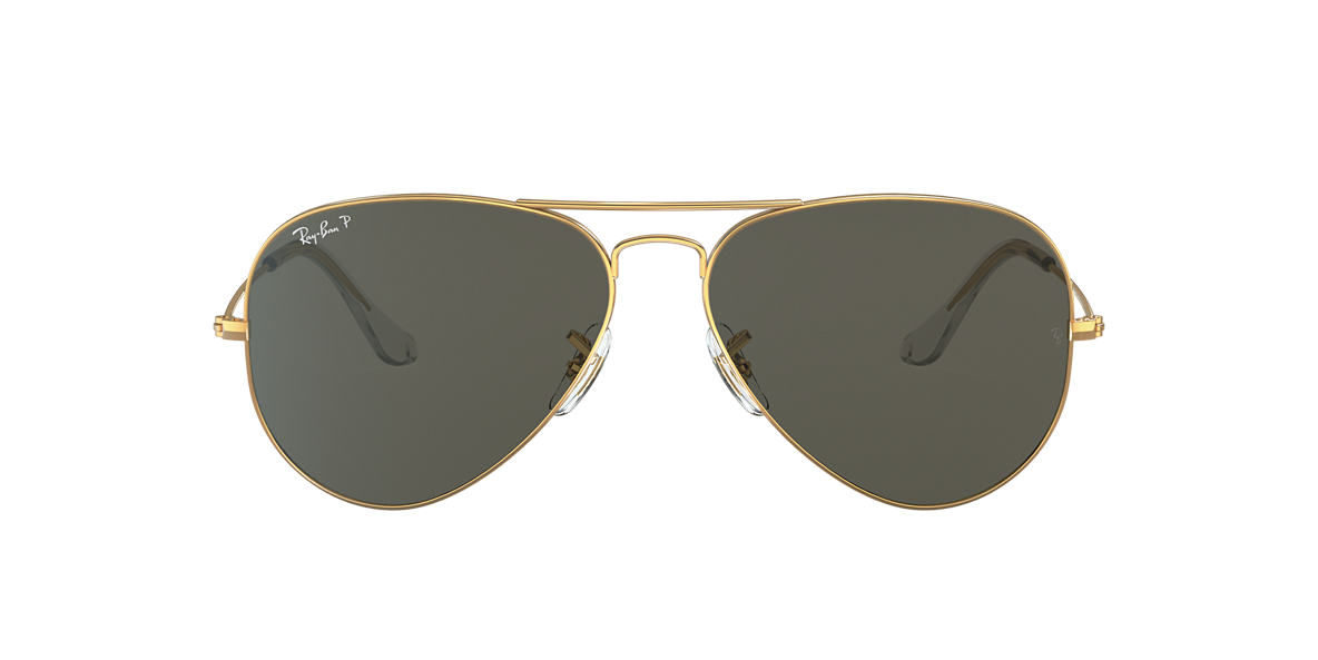 RAY-BAN Gold RB3025 55 ORIGINAL AVIATOR Green polarised lenses 55mm