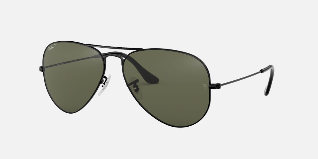 Ray-Ban RB3025 55 Black Polarized Aviator Sunglasses ...