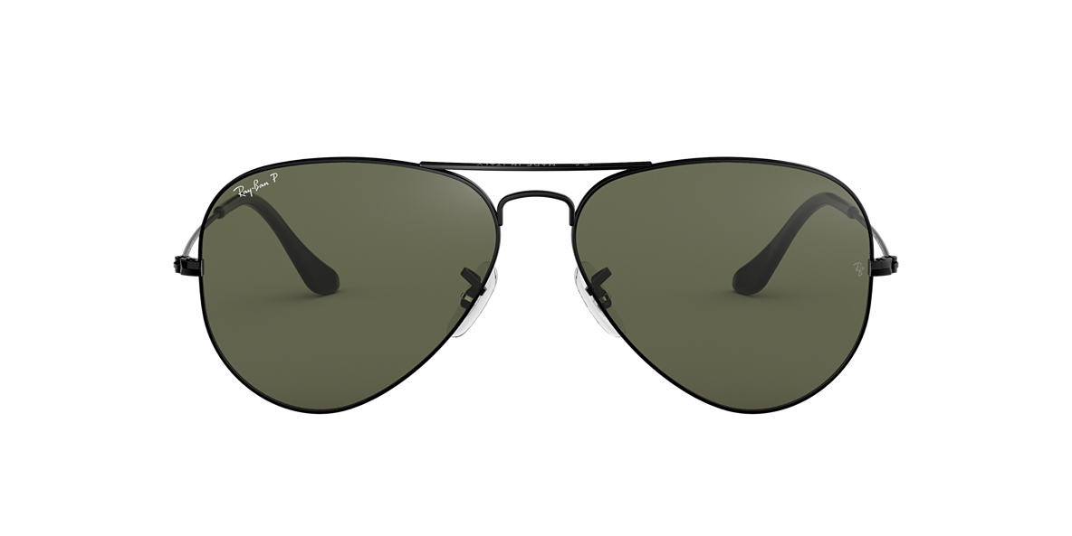 RAY-BAN Black RB3025 62 ORIGINAL AVIATOR Green polarised lenses 62mm