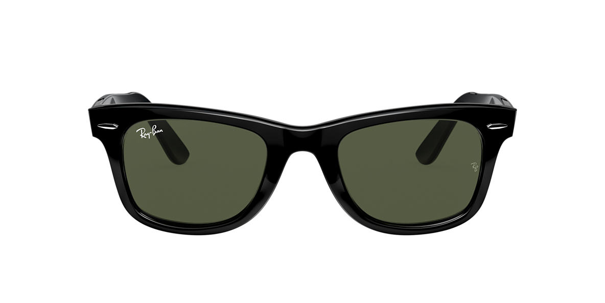 RAY-BAN Black RB2140 50 ORIGINAL WAYFARER Green lenses 50mm