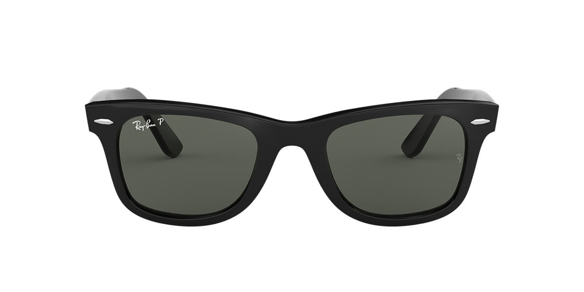 RAY-BAN Black RB2140 50 ORIGINAL WAYFARER Green polarised lenses 50mm