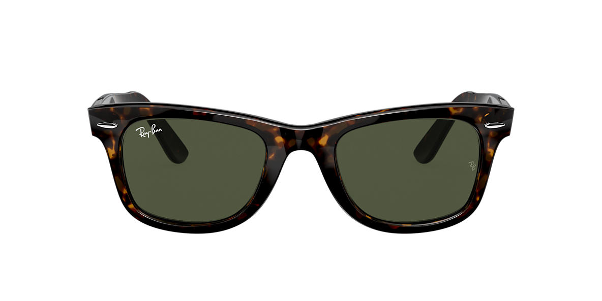 RAY-BAN Tortoise RB2140 50 ORIGINAL WAYFARER Green lenses 50mm