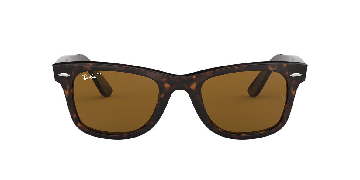 RAY-BAN Tortoise RB2140 54 ORIGINAL WAYFARER Brown polarised lenses 54mm
