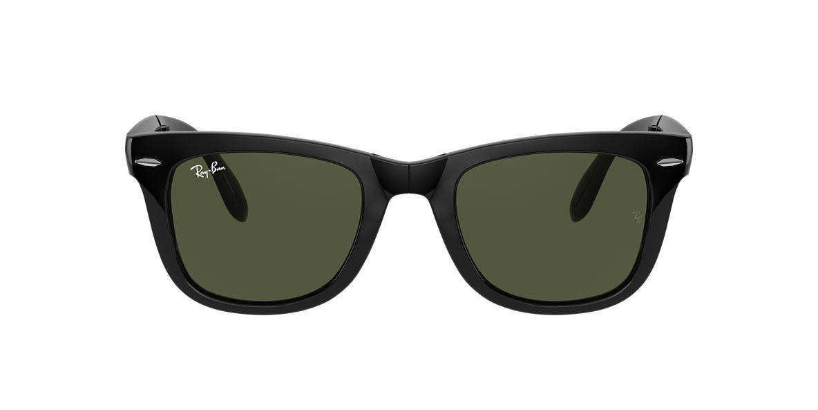 RAY-BAN Black RB4105 50 FOLDING WAYFARER Green lenses 50mm