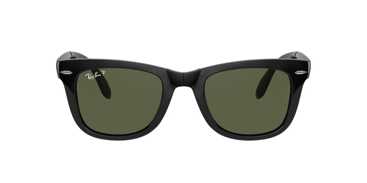 RAY-BAN Black RB4105 50 FOLDING WAYFARER Green polarised lenses 50mm