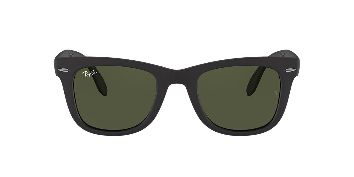 RAY-BAN Black Matte RB4105 50 FOLDING WAYFARER Green lenses 50mm