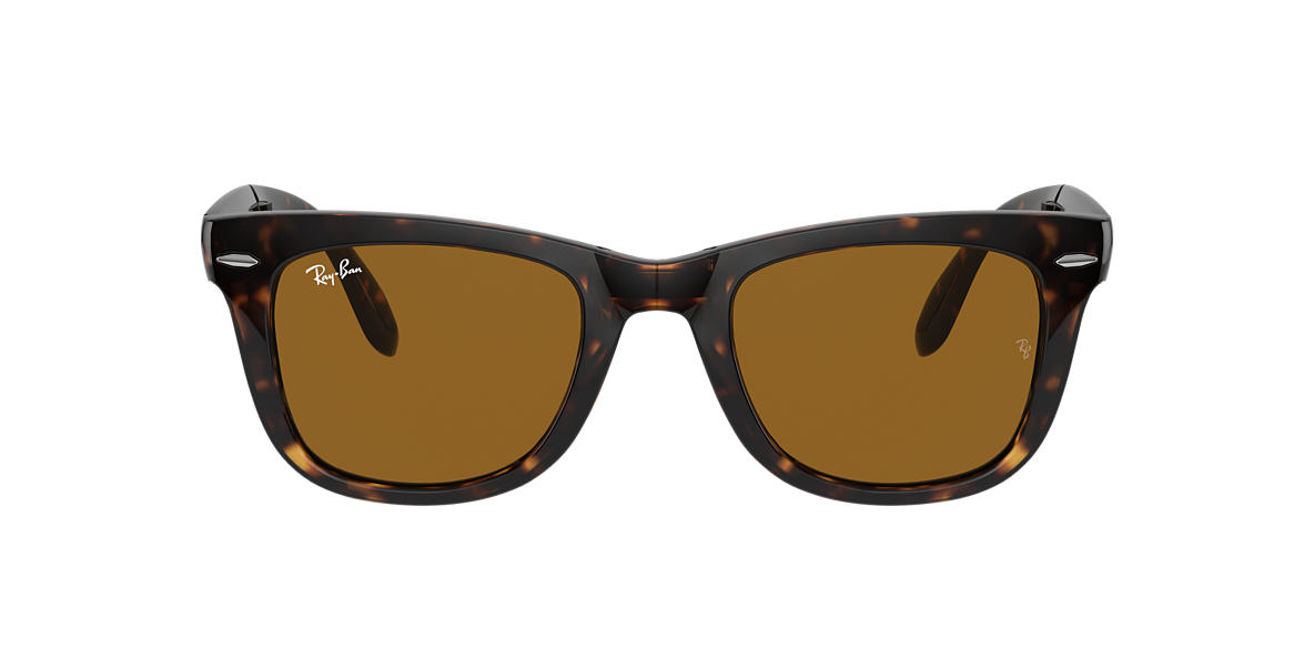 RAY-BAN Tortoise RB4105 50 FOLDING WAYFARER Brown lenses 50mm