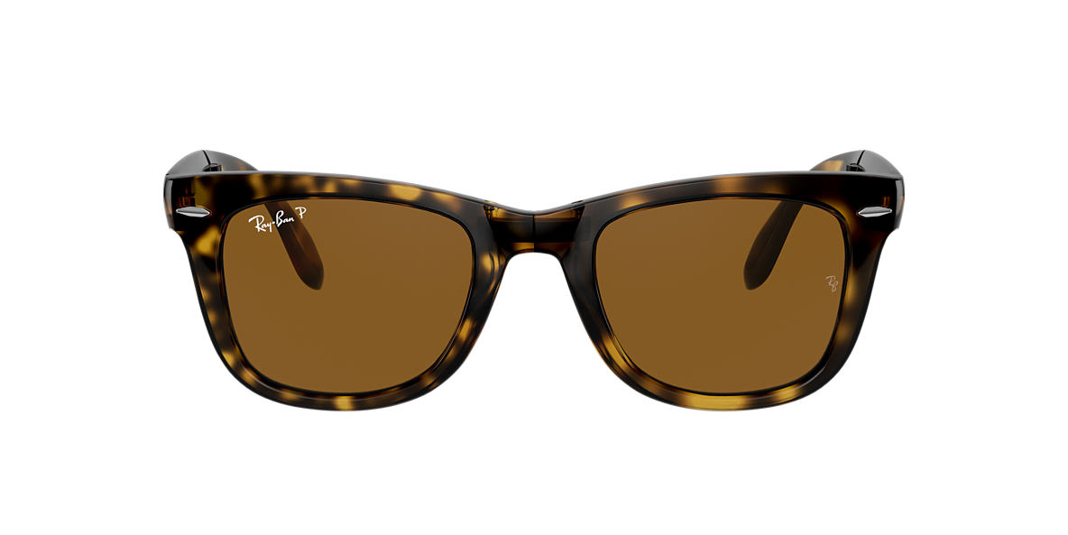 RAY-BAN Tortoise RB4105 50 FOLDING WAYFARER Brown polarised lenses 50mm