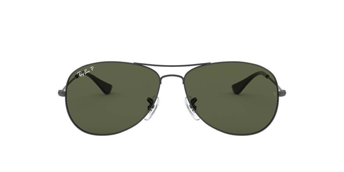 ray ban mens aviator sunglasses gunmetal  ray ban gunmetal rb3362 59 cockpit green polarized lenses 59mm