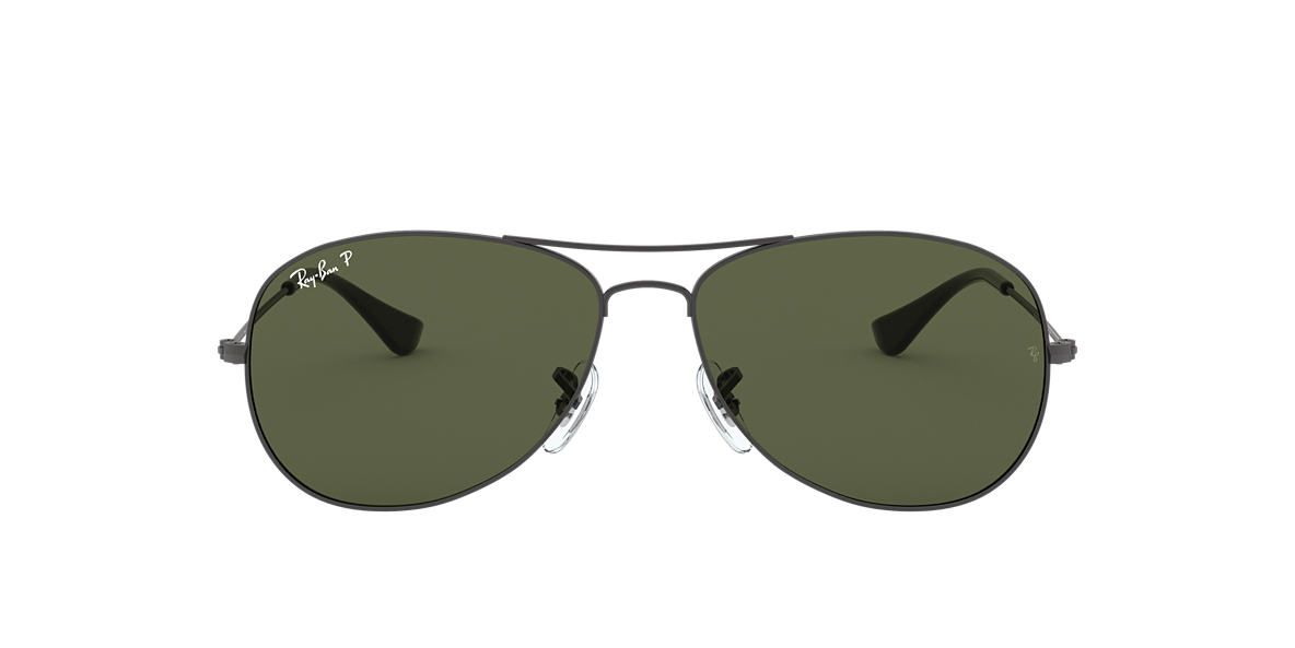 RAY-BAN Gunmetal RB3362 59 COCKPIT Green polarised lenses 59mm