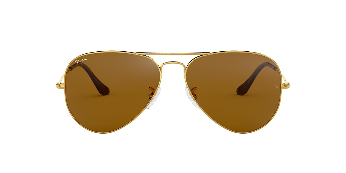 RAY-BAN Gold RB3025 62 ORIGINAL AVIATOR Brown lenses 62mm