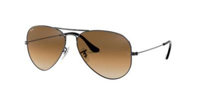 ray ban rb3025 aviator sunglasses gold frame crystal light green  Ray-Ban RB3025 58 ORIGINAL AVIATOR 58 Brown \u0026 Gunmetal Sunglasses ...