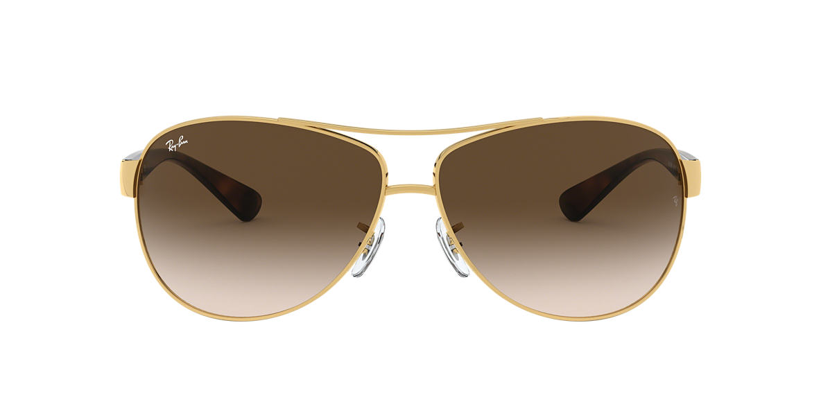 RAY-BAN Gold RB3386 63 Brown lenses 63mm