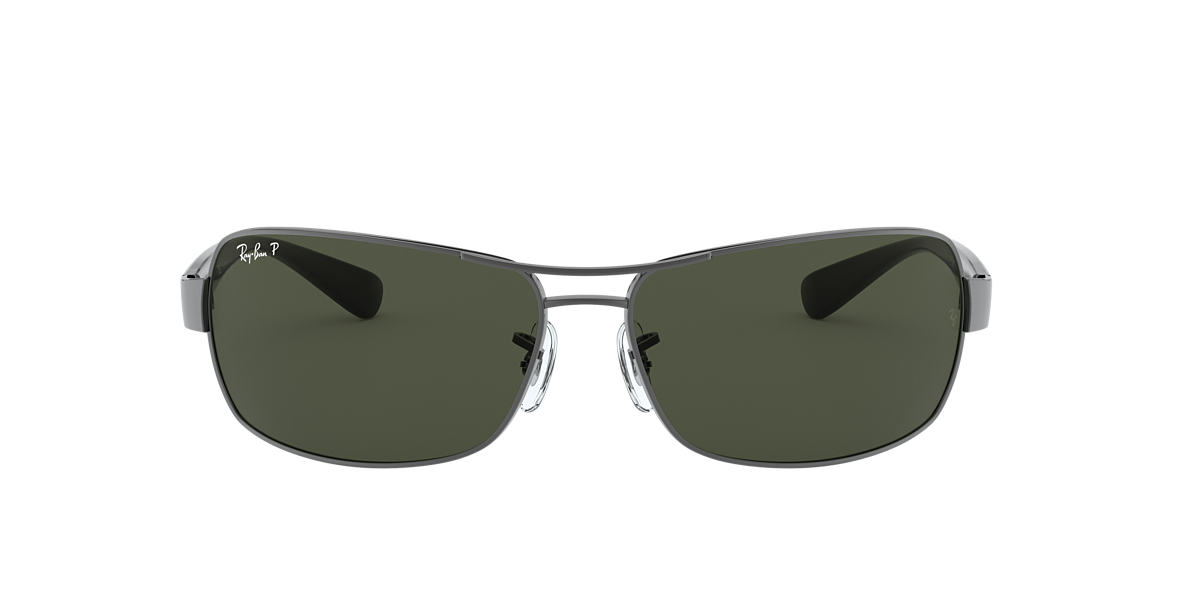 RAY-BAN Silver RB3379 Green polarised lenses 64mm