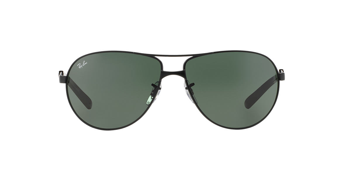 RAY-BAN Black Matte RB3393 64 Green lenses 64mm