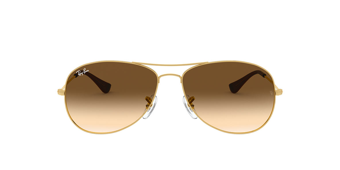 RAY-BAN Gold RB3362 59 COCKPIT Brown lenses 59mm