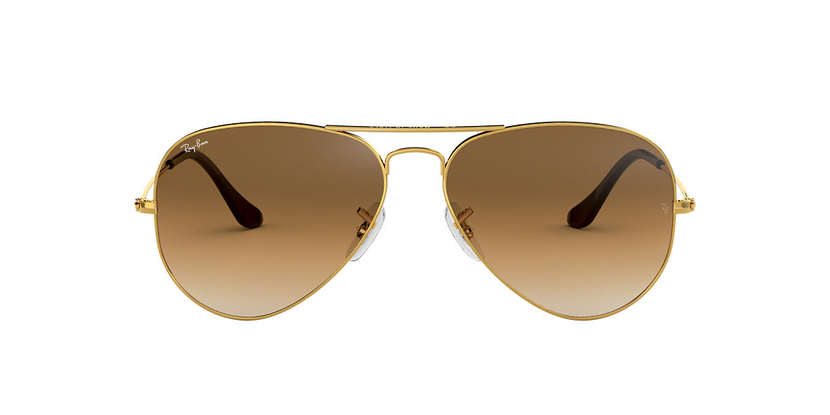 RAY-BAN Gold RB3025 55 ORIGINAL AVIATOR Brown lenses 55mm