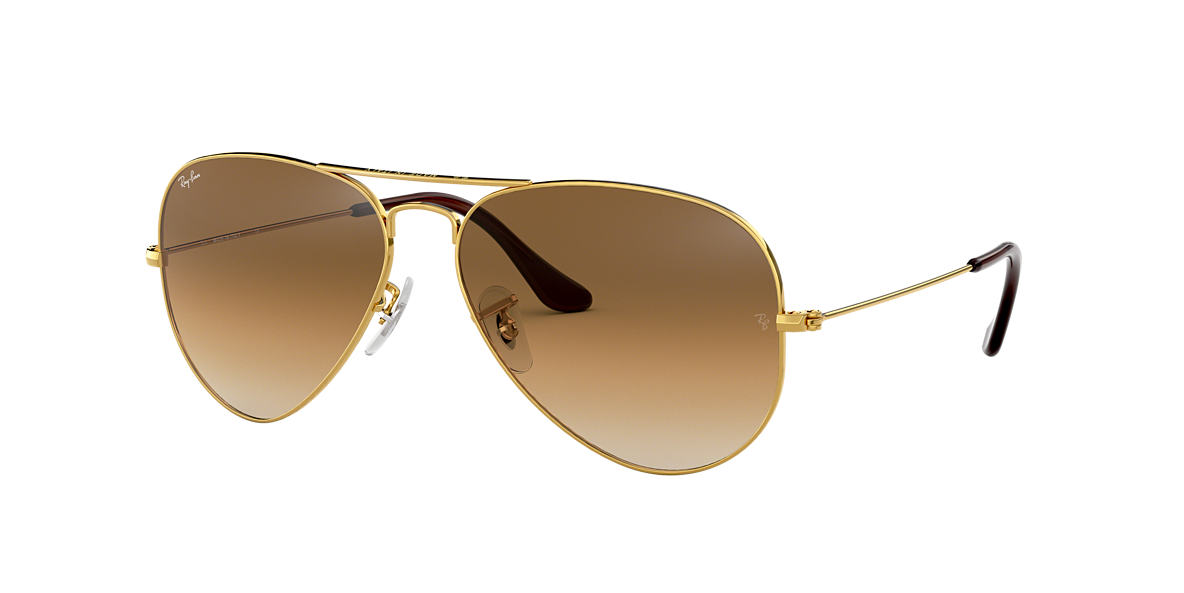 ray ban rb3025 58 original aviator 58 brown gold shiny sunglasses sunglass hut usa. Black Bedroom Furniture Sets. Home Design Ideas