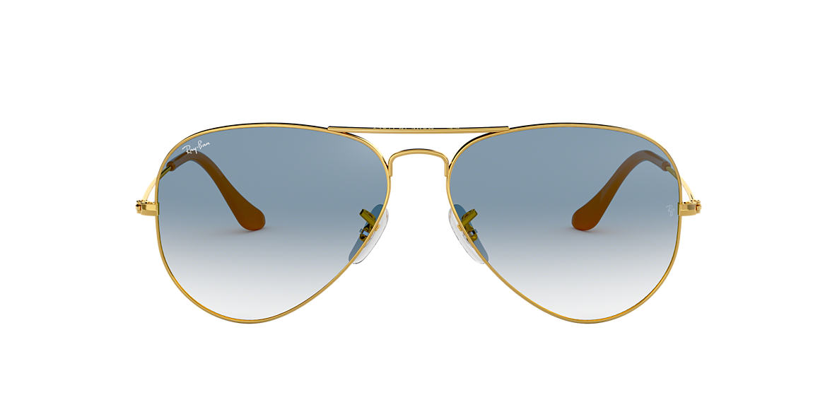 RAY-BAN Gold RB3025 55 ORIGINAL AVIATOR Blue lenses 55mm