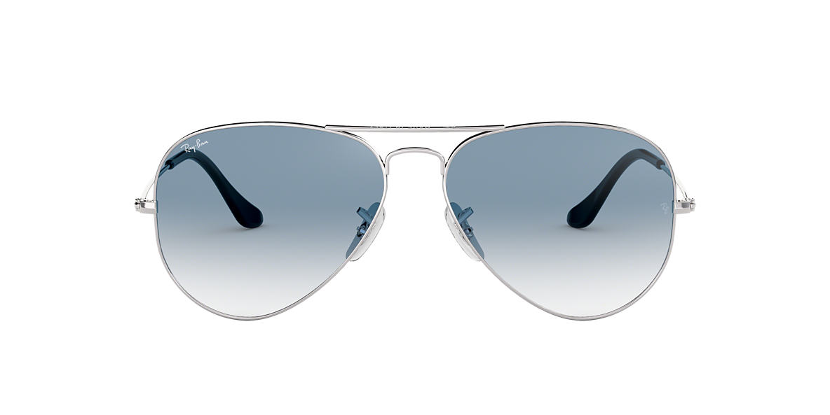 RAY-BAN Silver RB3025 55 ORIGINAL AVIATOR Blue lenses 55mm
