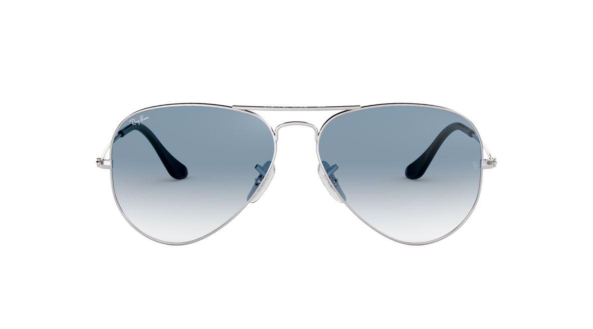 ray ban aviator silver blue sunglasses