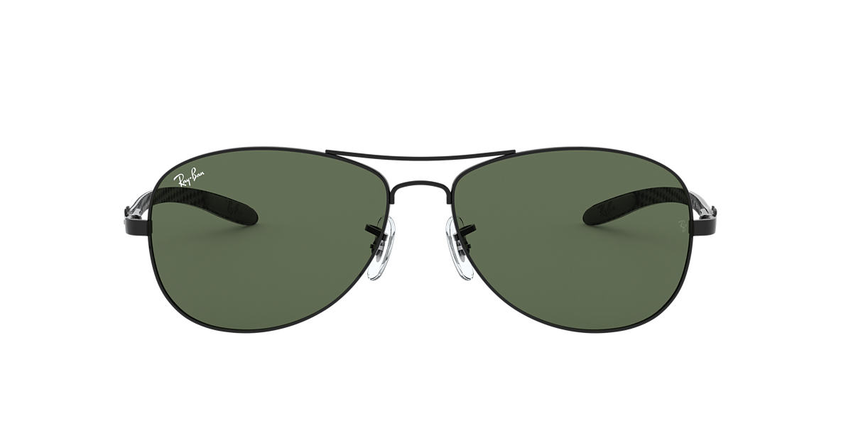 RAY-BAN Black RB8301 59 CARBON FIBRE Green lenses 59mm