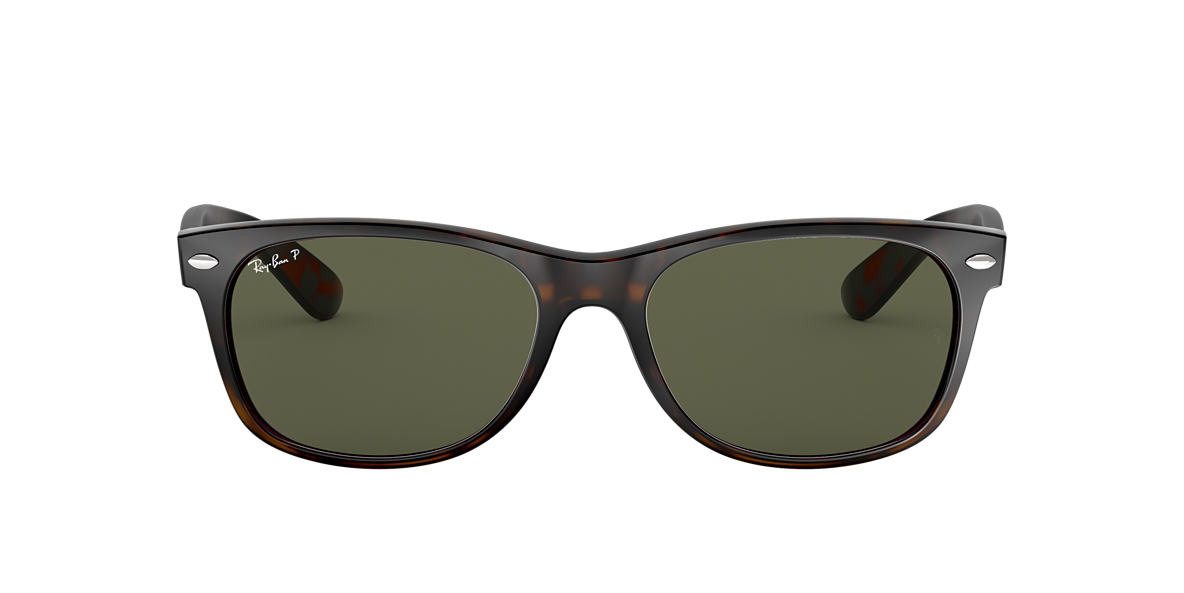 RAY-BAN Tortoise RB2132 55 NEW WAYFARER Green polarized lenses 55mm