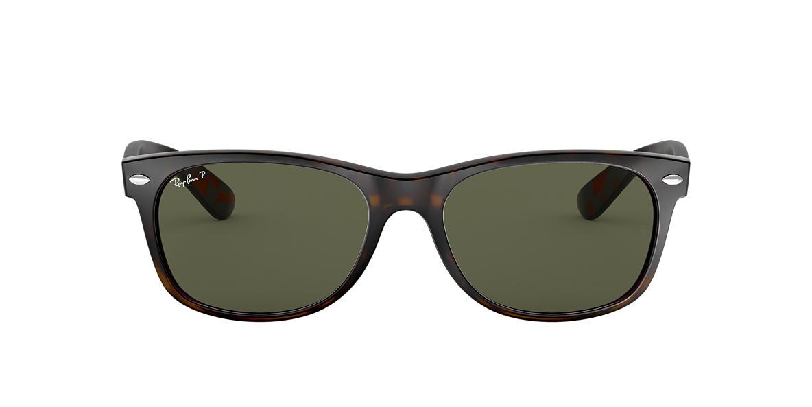 RAY-BAN Tortoise RB2132 55 NEW WAYFARER Green polarised lenses 55mm